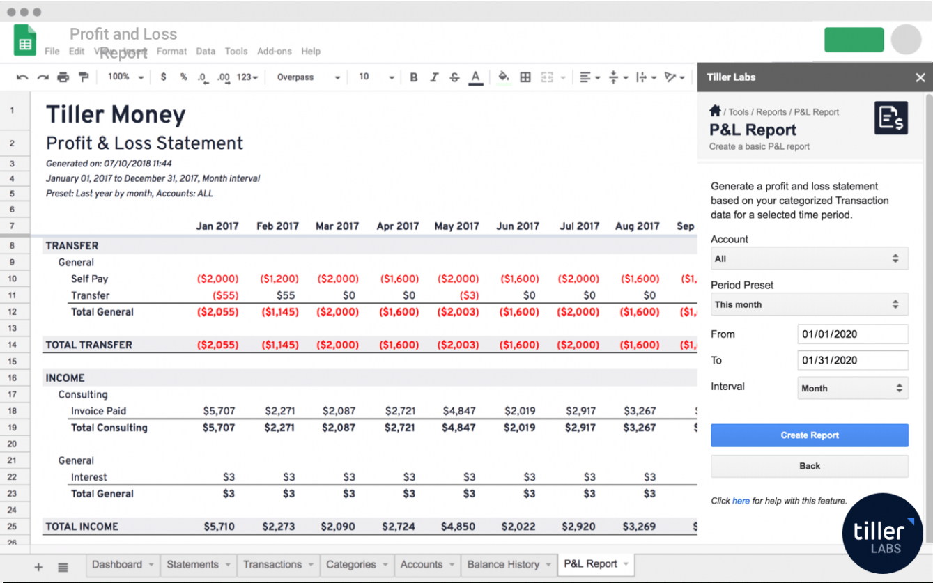 printable profit and loss report template for google sheets profit loss report template
