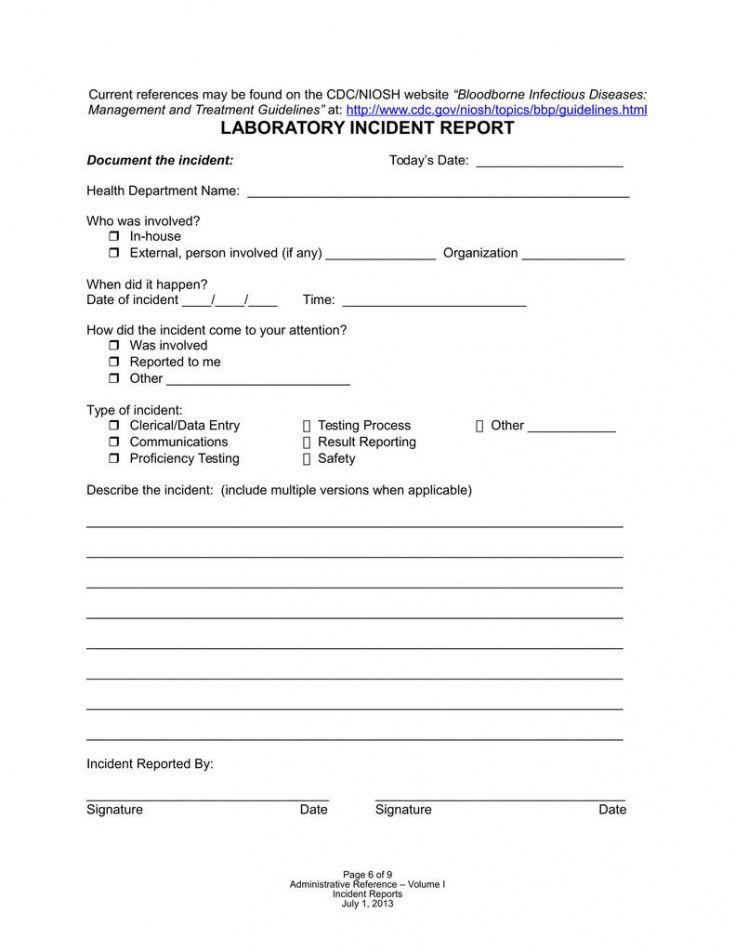 awesome exposure incident report form osha  models form ideas dental incident report form template sample