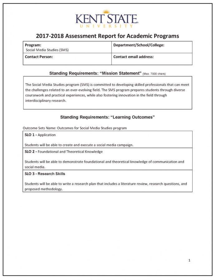 Editable Assessment Report Sample  Kent State University It Assessment Report Template