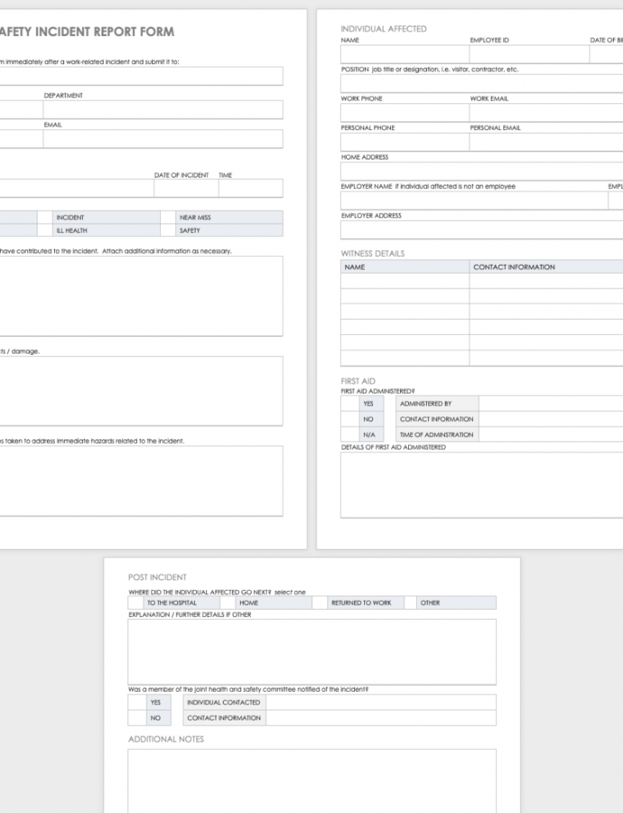 Editable Free Workplace Accident Report Templates  Smartsheet Workplace Accident Report Form Template PDF