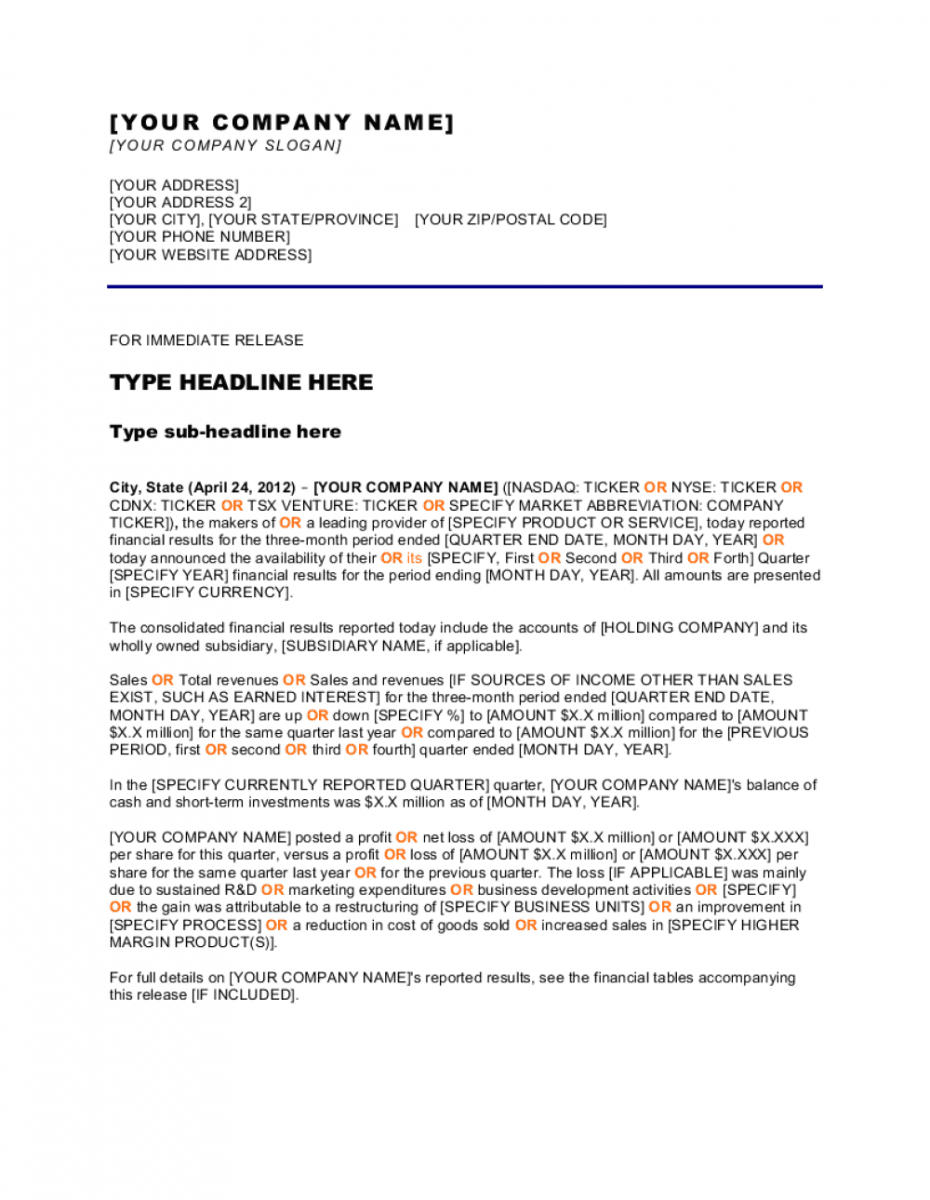 editable press release company reports quarter results template  by new website press release template doc