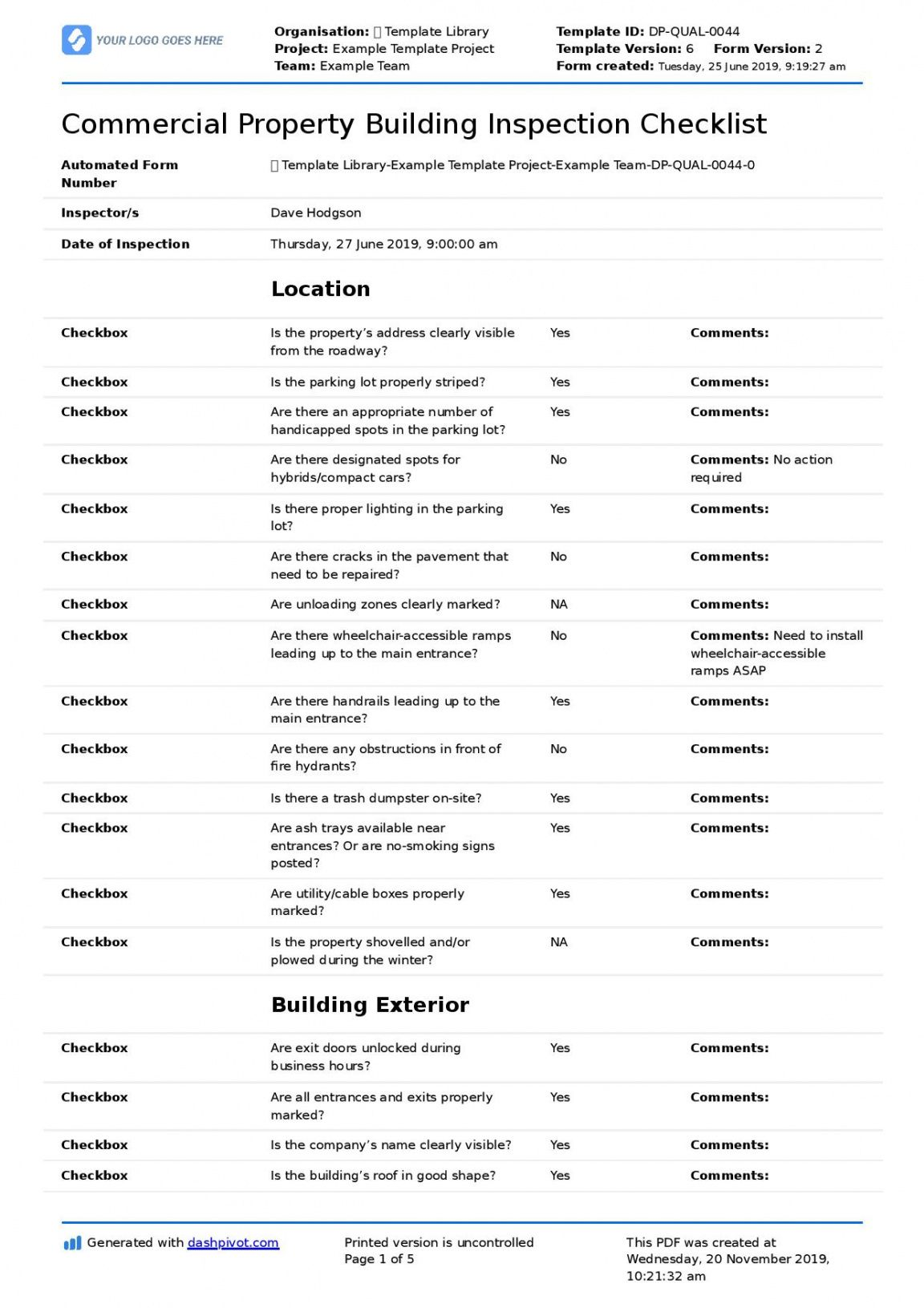 free commercial building inspection checklist quicker  easier building inspection report template doc