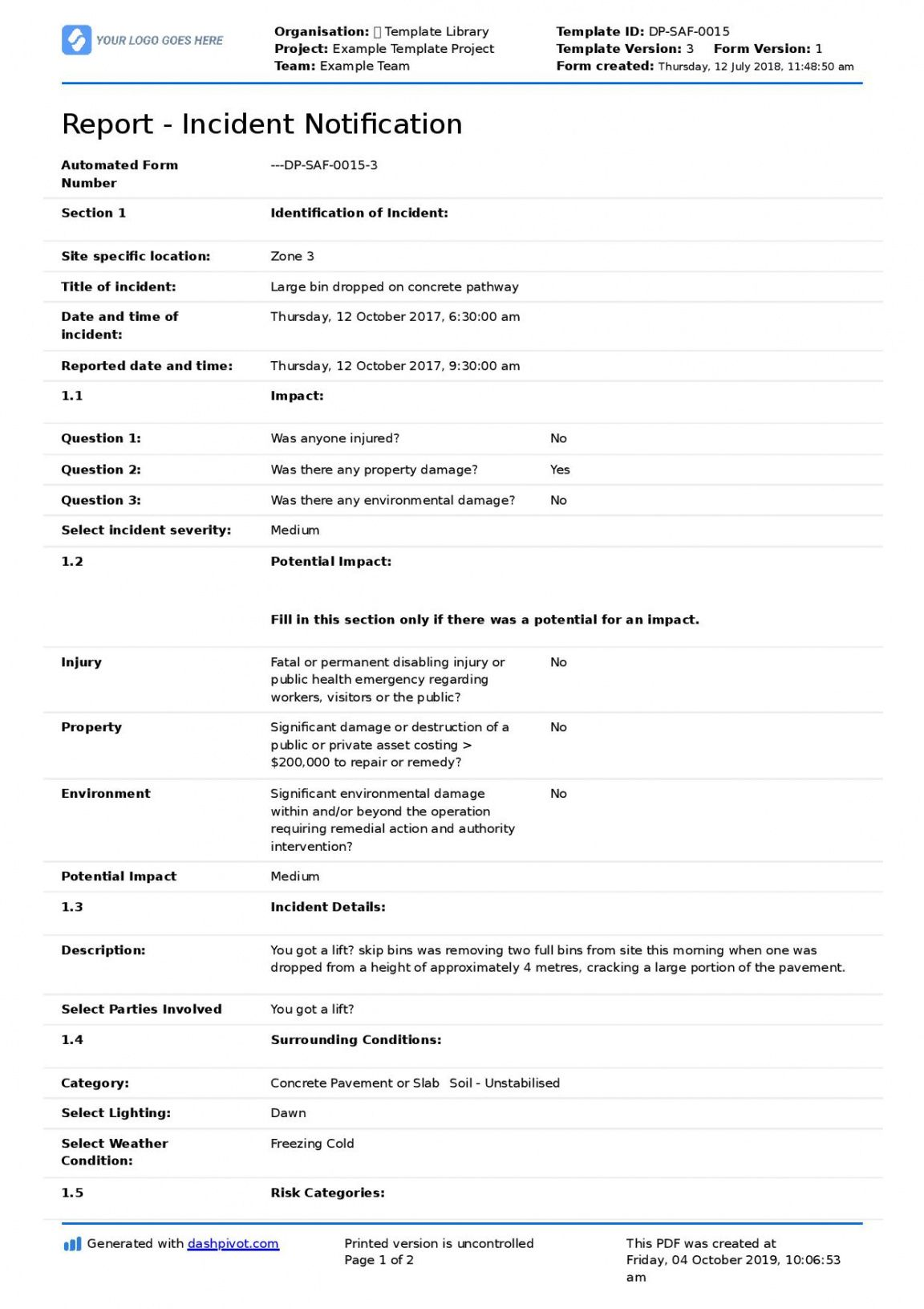 free construction incident report template free & editable form construction safety report template doc