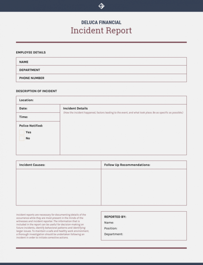 Free How To Write An Effective Incident Report  Templates Workplace Accident Report Form Template PDF