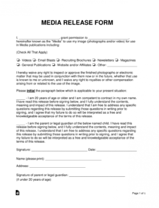 free media liability release form  word  pdf  eforms photo consent release form template