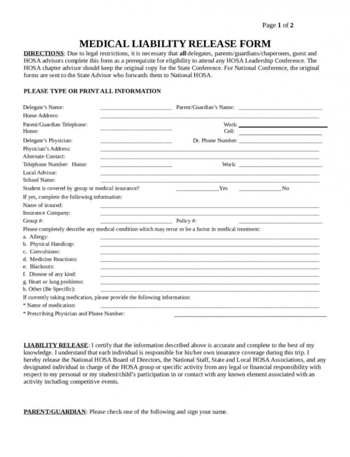 Free Medical Liability Release Form  Edit Fill Sign Online Medical Release Of Liability Form Template PDF