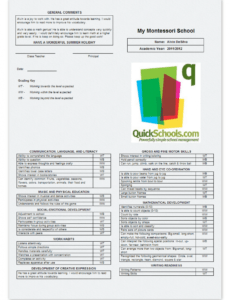 free skillsbased report cards for montessori schools  school summer school report card template doc