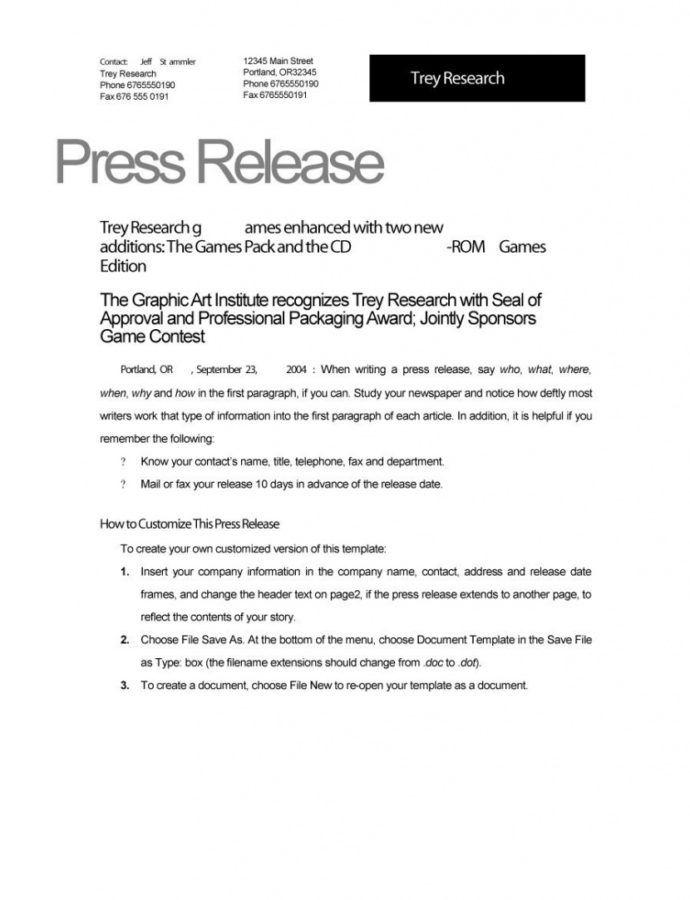 Printable 47 Free Press Release Templates  Free Template Downloads Restaurant Press Release Template Example