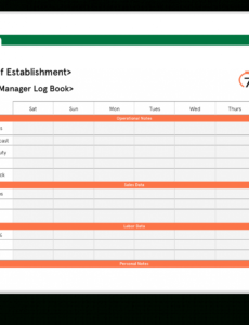 printable download free restaurant manager log book template restaurant manager daily report template word