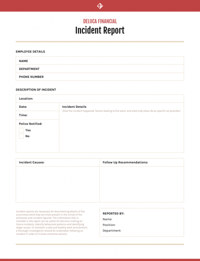 Printable How To Write An Effective Incident Report  Templates Workplace Accident Report Form Template Excel