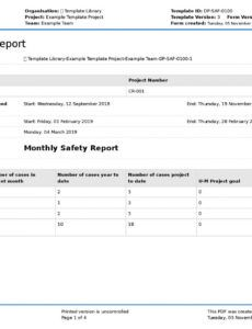 printable monthly safety report template better format than word or construction safety report template example