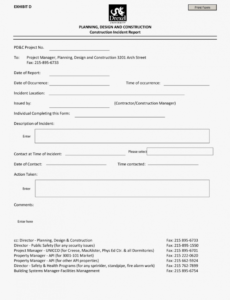 sample incident report format free construction site construction safety report template excel