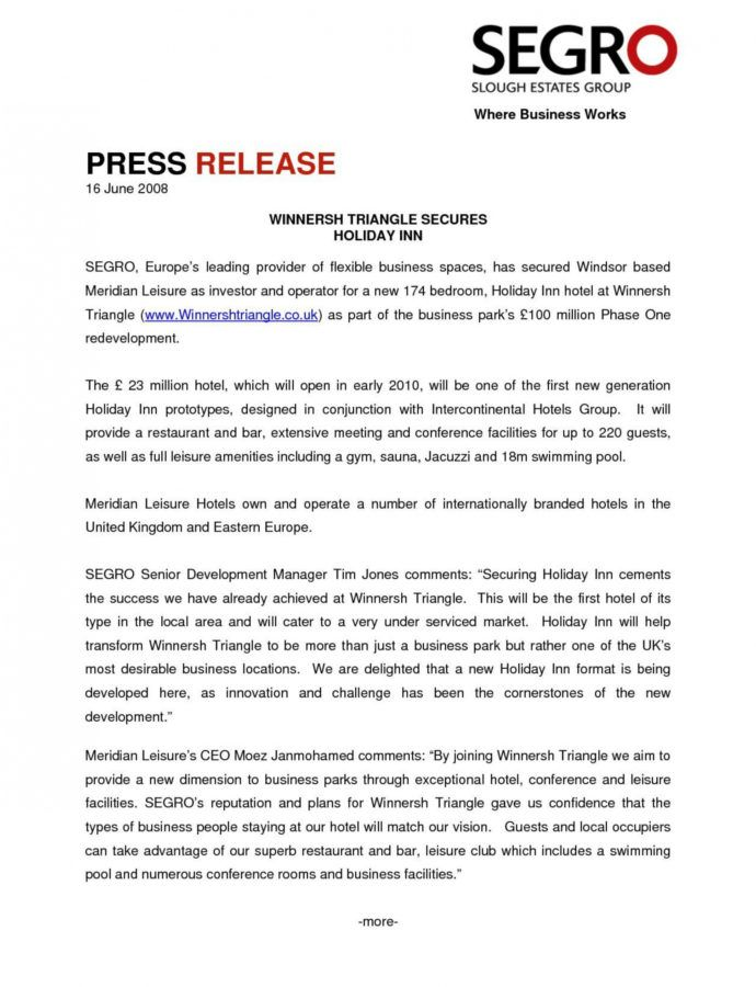Sample Press Release Template ~ Addictionary Restaurant Press Release Template Word