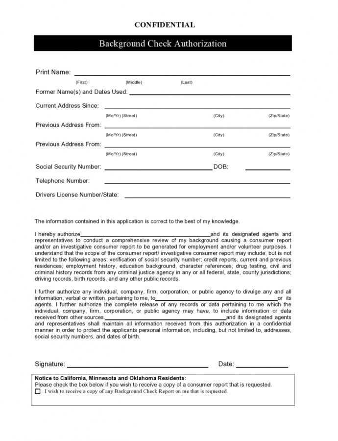 Editable 47 Free Background Check Authorization Forms  Templatelab Background Check Report Template Example