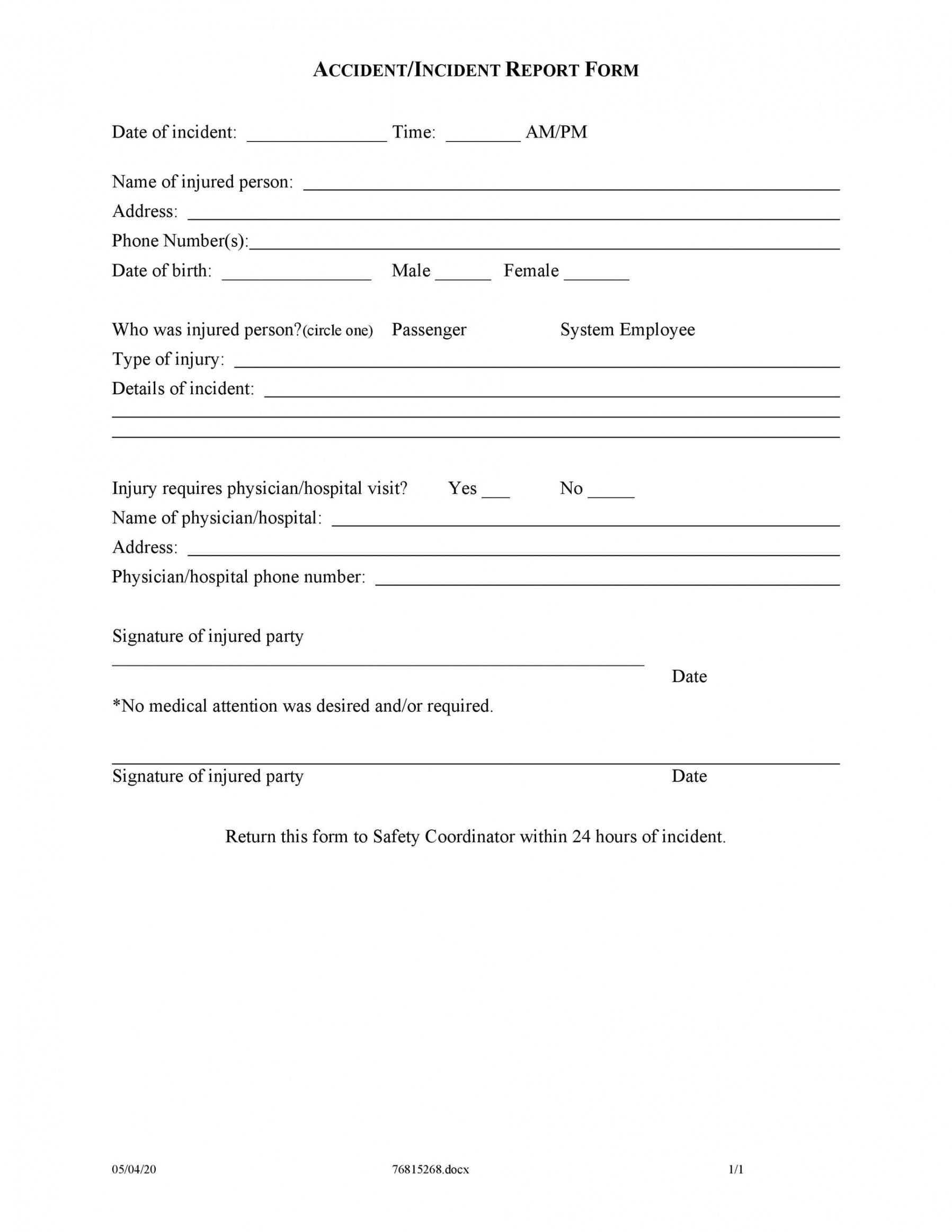 editable 60 incident report template employee police generic accident injury report template