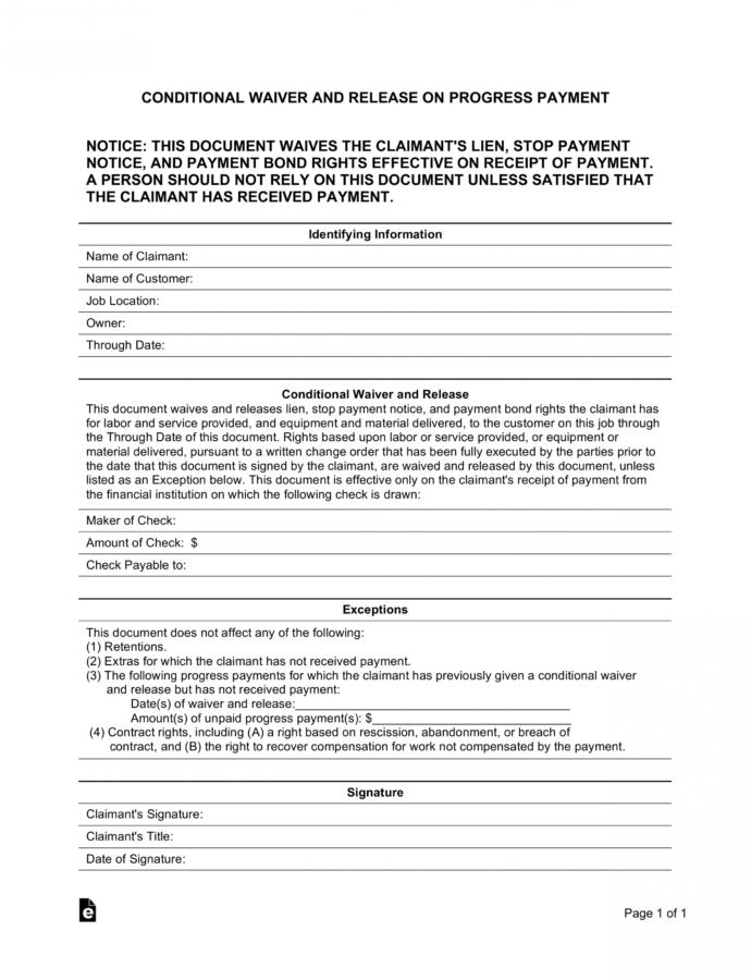 Editable Conditional Contractor's Mechanic's Lien Release Form Conditional Lien Release Template Sample