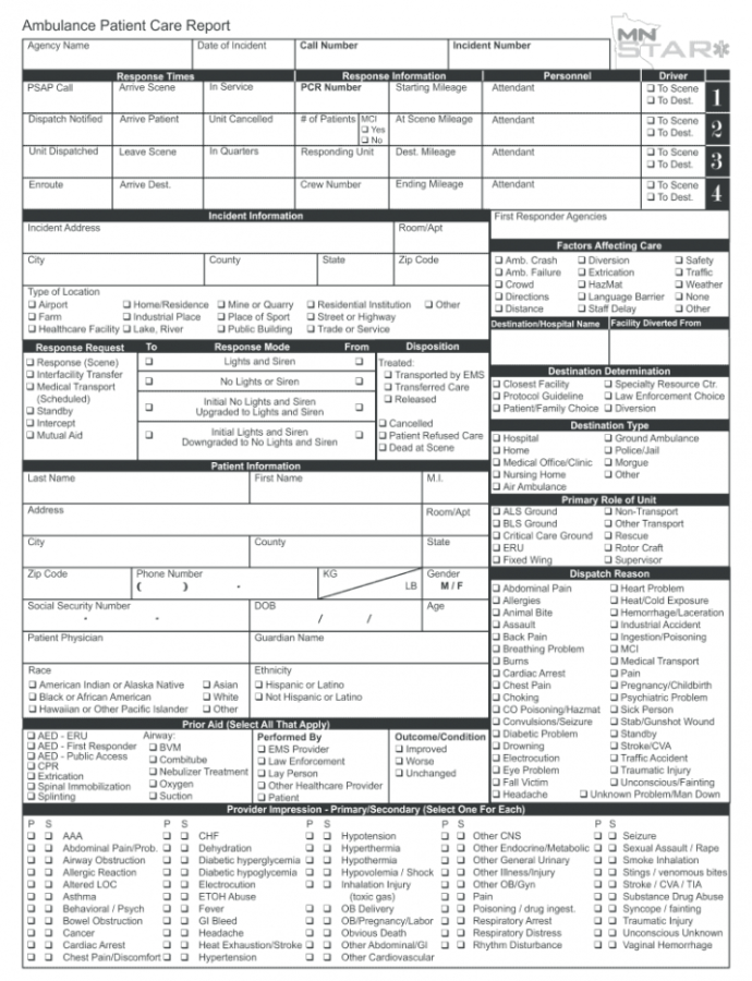 Editable Patient Care Report  Fill Out And Sign Printable Pdf Template  Signnow Emt Patient Care Report Template Sample
