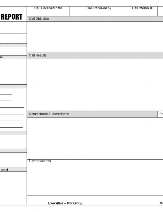 Editable Sales Call Report Templates  Word Excel Fomats Client Visit Report Template Word