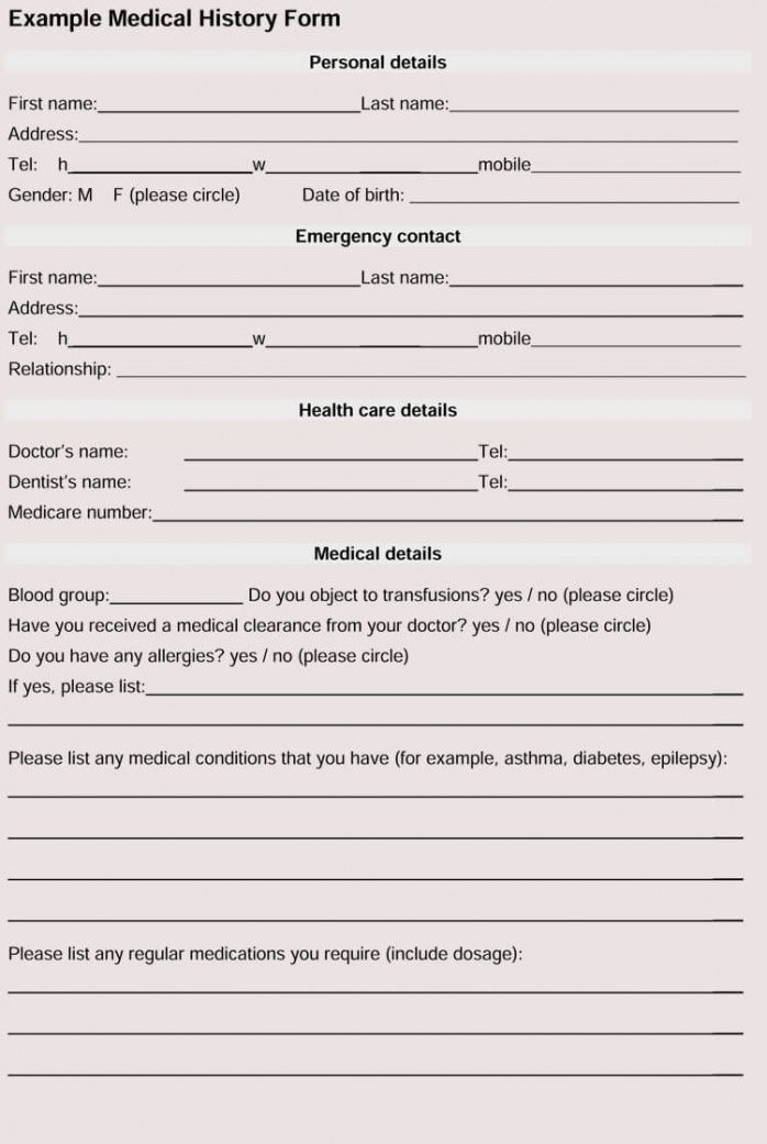 free general medical history forms 100% free  word pdf medical history report template doc