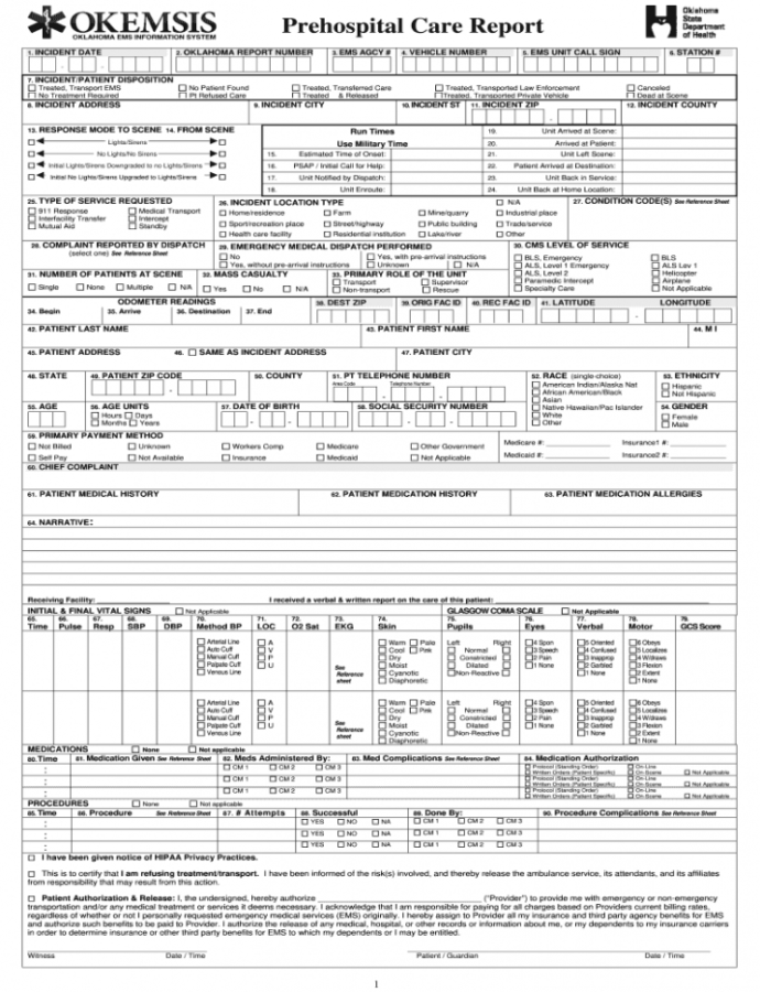 Free Patient Care Report Template Doc  Fill Online Printable Emt Patient Care Report Template Word