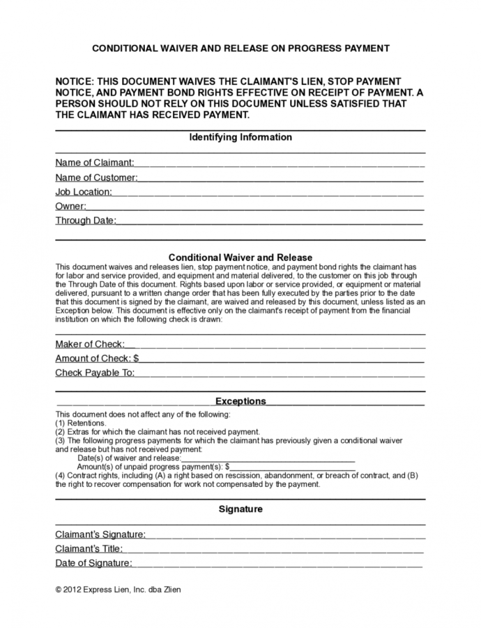 Hawaii Partial Conditional Lien Waiver Form  Free Template Conditional Lien Release Template Example