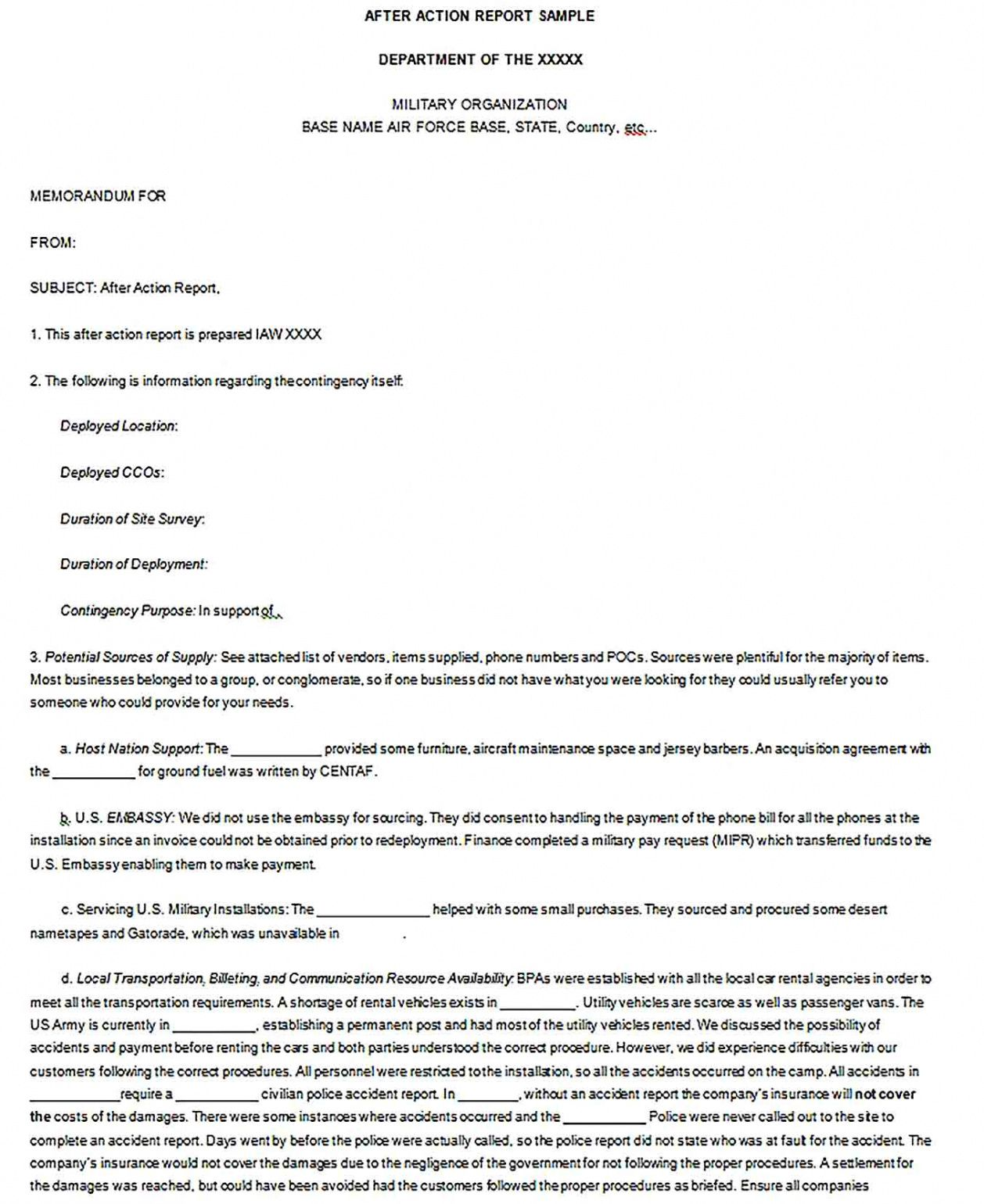 police report template police after action report template excel