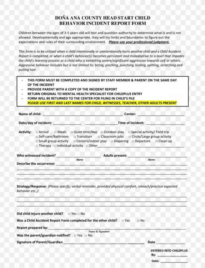 Printable Document Incident Report Template Child Patient Png Behavior Incident Report Template PDF