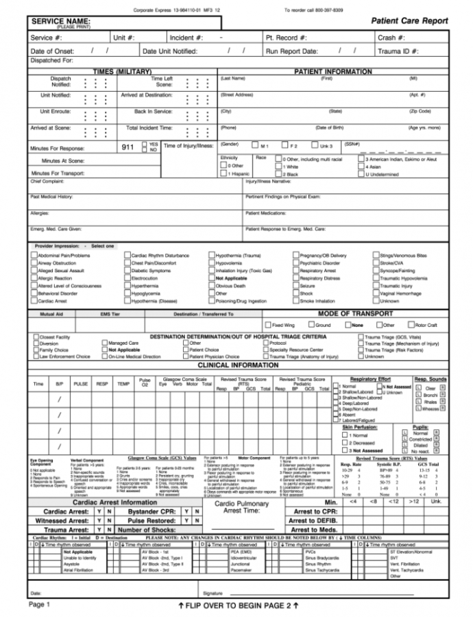 Printable Ems Run Report  Fill Online Printable Fillable Blank Ems Incident Report Template Example