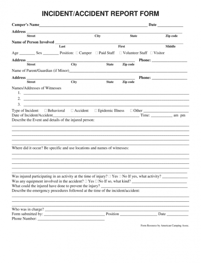 Printable Incident Report Form  Fill Online Printable Fillable Summer Camp Incident Report Template Example