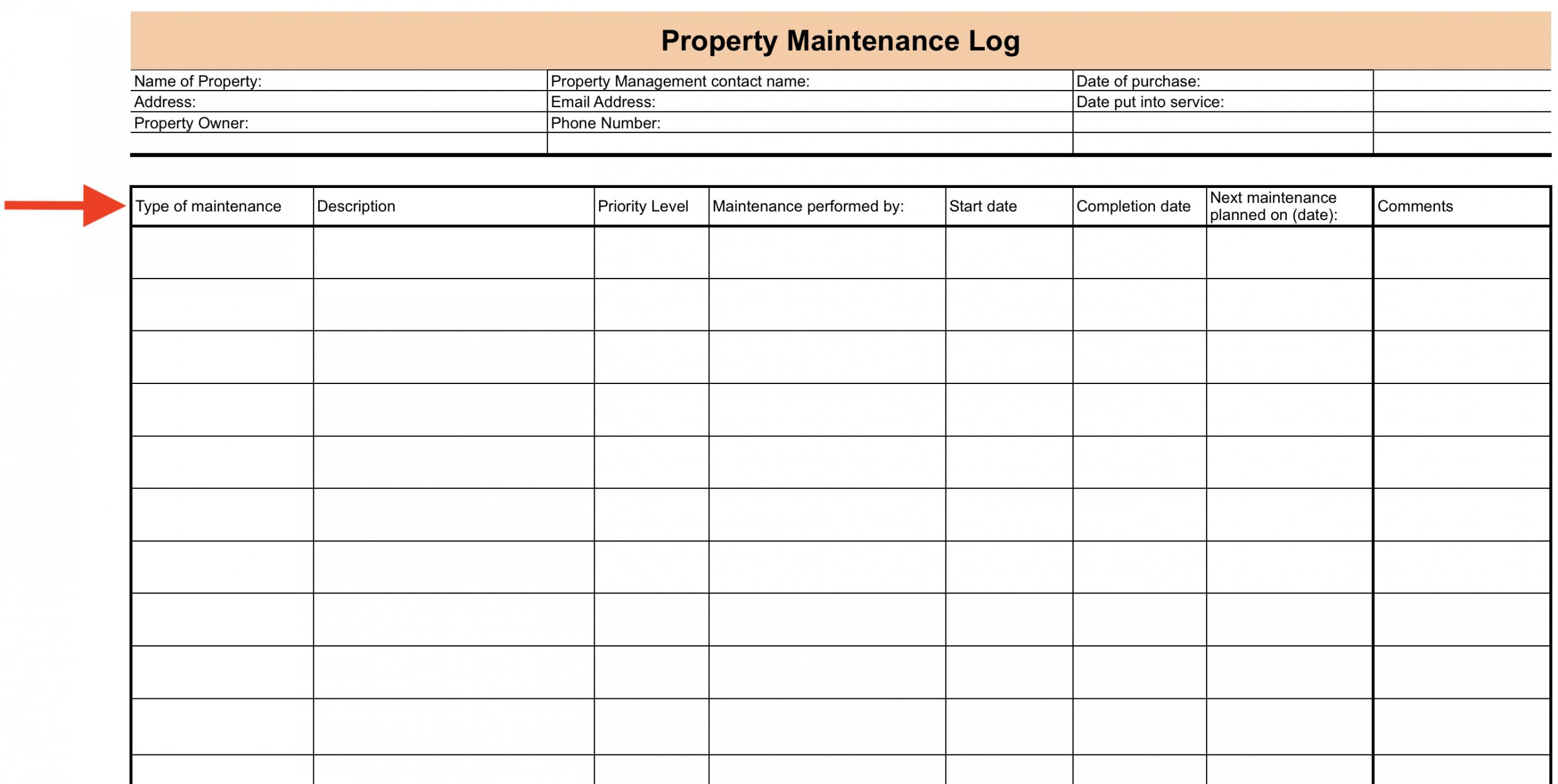 printable maintenance log setup checklist  process street building maintenance report template sample