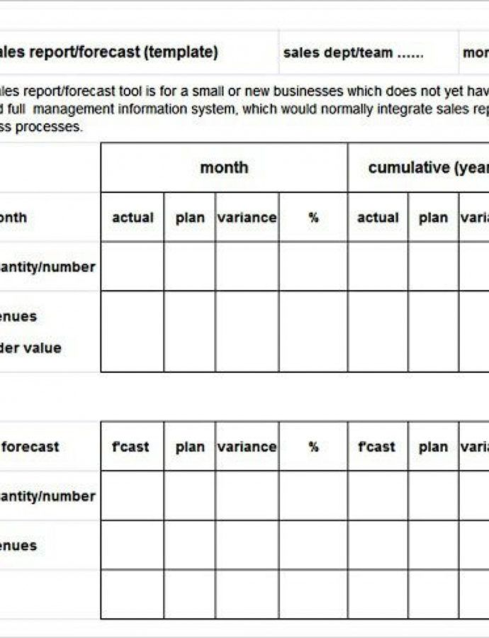 Printable Monthly Sale Report Template ~ Addictionary Monthly Sales Report Template Actual PDF