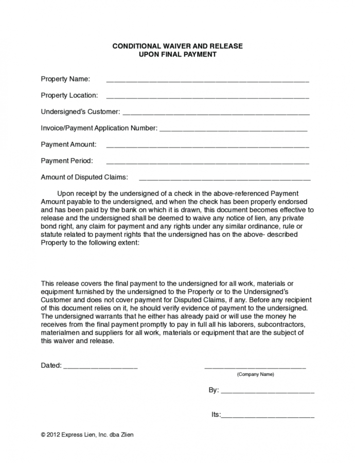 Printable Nevada Final Conditional Lien Waiver Form  Free Template Conditional Lien Release Template Example