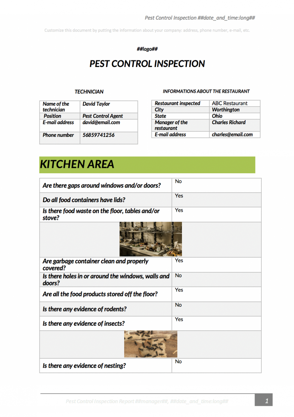sample ensure a pestfree site with this pest inspection app pest control report template pdf