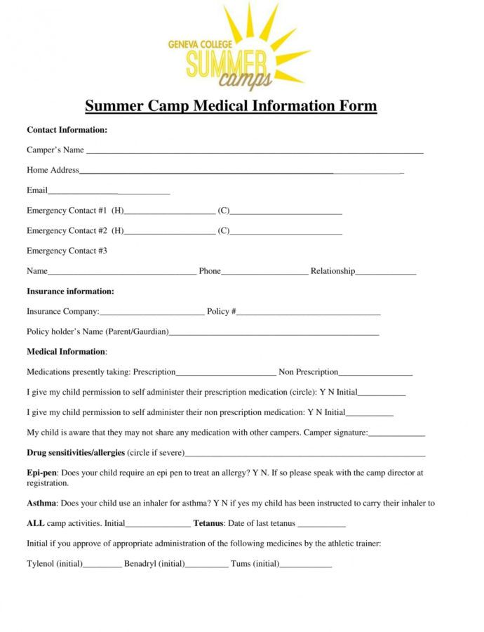 Sample Free 15 Medical Information Forms In Ms Word  Pdf  Excel Summer Camp Incident Report Template