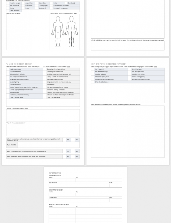 Sample Free Workplace Accident Report Templates  Smartsheet Workplace Violence Incident Report Form Template Word