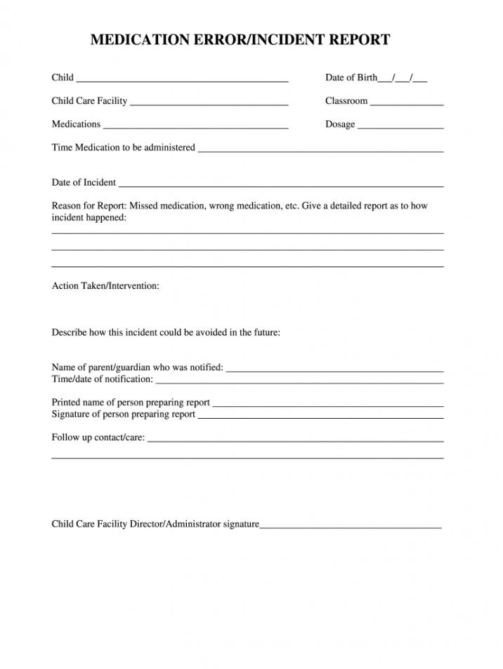 sample medication error  fill online printable fillable blank summer camp incident report template word