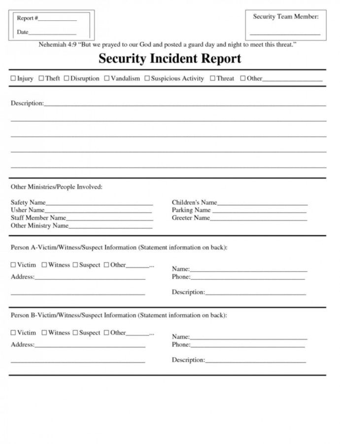 Sample Security Incident Report Template ~ Addictionary Security Officer Incident Report Template Sample
