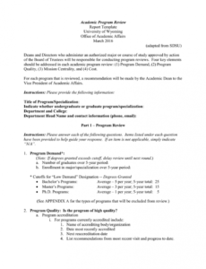 academic program review  template program review report template word