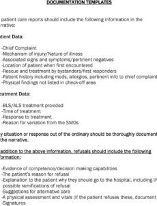 editable documentation templates all patient care reports should patient care report narrative template example