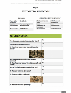 editable ensure a pestfree site with this pest inspection app pest control inspection report template sample