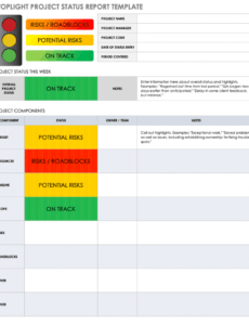 editable free project report templates  smartsheet executive status report template example
