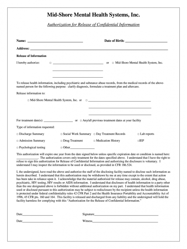 editable release of information form  fill online printable mental health release of information form template example