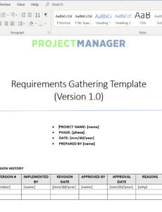 editable requirements gathering template  projectmanager report requirement gathering template excel