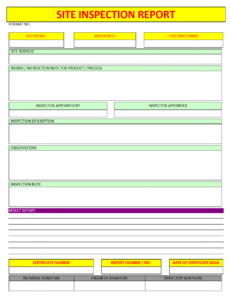 editable site inspection report construction inspection report template sample