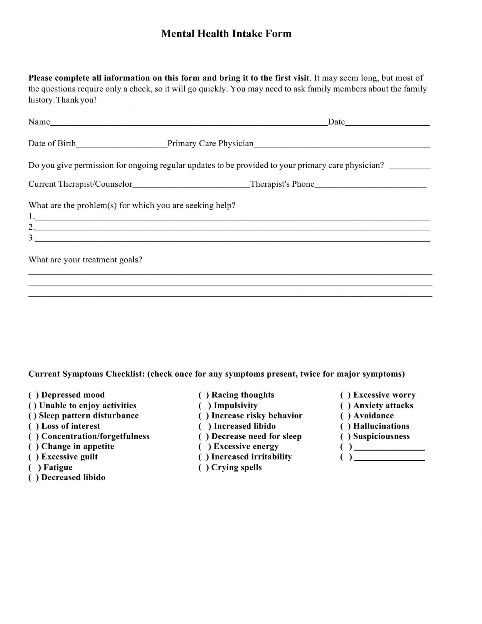 free 9 mental health providers intake forms in pdf  ms word mental health release of information form template word