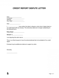 free credit report dispute letter template  sample  word dispute credit report template