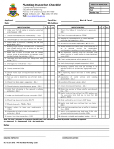 free plumbing inspection checklist  fill online printable plumbing inspection report template pdf