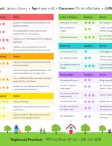 free preschool progress report preschool progress report template word
