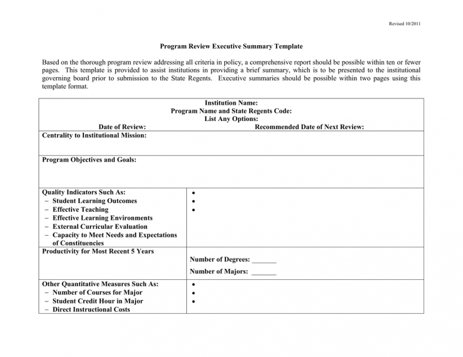 free program review executive summary template program review report template