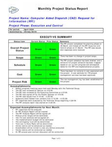 free project status report template ~ addictionary executive status report template doc